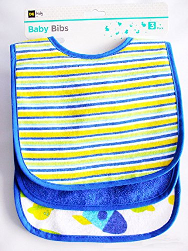 Dimore 3 Pack Baby Bibs - Multi-Color Solid Knit Terry Feeder Bib - 75% Cotton 25%Polyester Waterproof With Three Snaps Closure Gift - Boys And Girls Bibs - Blue