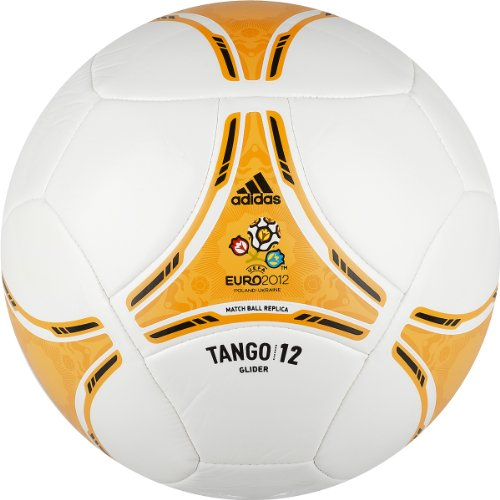 Adidas Euro 2012 Glider Soccer Ball (White/Bright Gold/Black, 3)