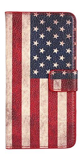 [A4E] Handyhülle passend für Samsung Galaxy S6 (G920) Kunstleder Tasche, Hülle, Schutzhülle, seitlicher Magnetverschluss, Kreditkartenfächer, Ständerfunktion mit retro Amerika US USA Stars and Stripes Muster Flagge Fahne Design vintage used look (rot, blau, weiß)