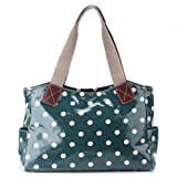 LADIES DESIGNER SAGE GREEN OILCLOTH POLKA DOTS TOTE SHOPPER IT SHOULDER DAY BAG