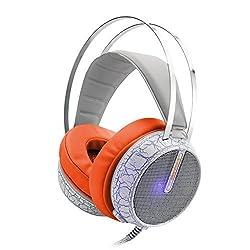 QINQIN Colorful glow of light glare esports Gaming Headphones crack headset orange
