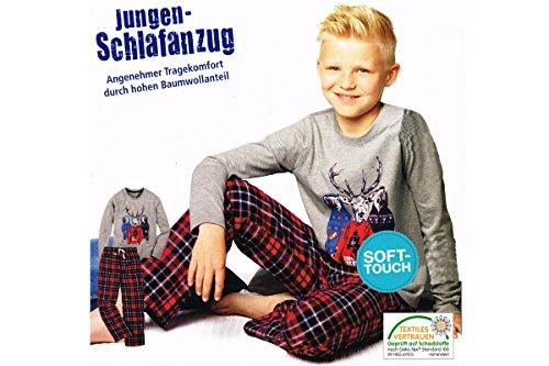 Jungen Flanell Schlafanzug Pyjama 2-teiler 3 Farben 122 128 134 140 146 152 (134/140, Grau-melange)