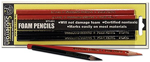 Woodland Scenics WS 1431 Foam Pencils - 2 Red-2 Black - 1