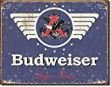 Large Budweiser LAGER Beer Vintage Retro Metal Tin Wall Plaque Sign 16x12.5
