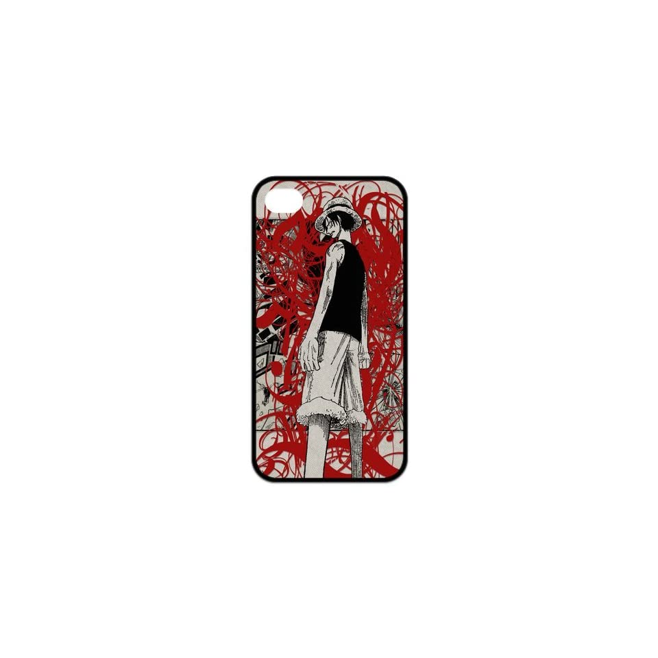 Fashiondiy Popular Japanese Anime One Piece Dark Monkey D Luffy Design Apple Iphone 4/4S Best Rubber Case Cover Cell Phones & Accessories