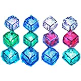 Eforstore Water Submersible Drink Decorative LED Glowing Ice Cubes Light Up Lights 12 Pack Multicolor Rainbow For Bar KTV Wedding Party Reusable