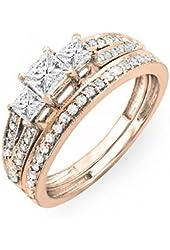 1.00 Carat (ctw) 14k Gold Princess Cut 3 Stone Diamond Ladies Engagement Bridal Ring Set Matching Band 1 CT