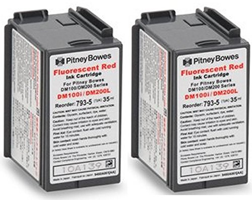 Twin-Pack of Genuine Original Pitney Bowes Brand 793-5 Fluorescent Red Ink Cartridges for: DM100/DM100i/DM125/DM125i/DM150/DM150i/DM175/DM175i/DM200L/DM225/DM225i/P700 Postage Machines (Pitney Bowes Postage Machine Ink compare prices)