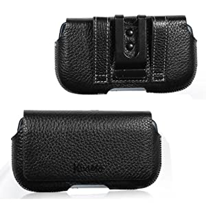 KHOMO ® Black Leather Belt Holster case for Samsung Galaxy S4