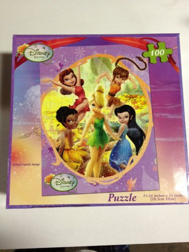 Disney Fairies 100 Piece Puzzle - Tinkerbell and Friends in a Yellow Flower Meadow