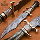 Noon Knives : Hand Made Damascus Steel Collectible Bowie Knife Handle Camel Bone (Black) (Color: Black)