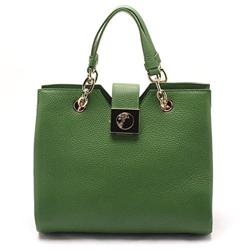 0651833baf Versace Collections Women Pebbled Leather Top Handle Handbag ...