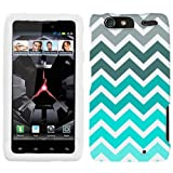 Motorola Droid Razr MAXX Chevron Grey Green Turquoise Pattern Phone Case Cover