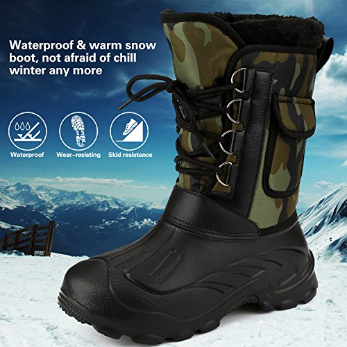 Mens Waterproof Rain Boot Mid Calf Winter Snow Warm Boots Garden
