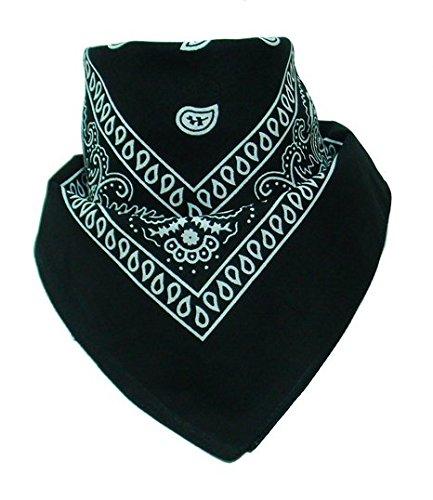 50% di sconto - National Cotton Paisley Bandana Double Sided testa sciarpa dell'involucro Wristband Bandana da Boolavard (Nero)