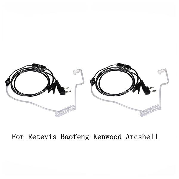 Walkie Talkies Earpieces (2 Packs) 2 Pin Covert Air Acoustic Tube Headset for Baofeng UV-5R BF-888S Retevis H-777 Kenwood PUXING 2 Way Radio