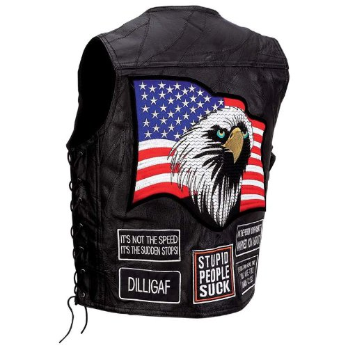 MOTORCYCLE VEST W/PATCHES-2X