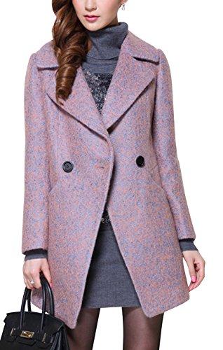 Dapene® Women'S Polo Neck Double Breasted Slim Fit Long Wool Coat Jacket L