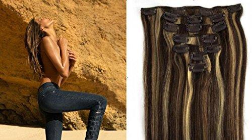 """Echthaar Haarverdichtung Clip in Remy Haar Extensions Erganzungsset 15""""/70g/7pcs/set #2/#613-dunkelsten Braun/hellste Blondine"""