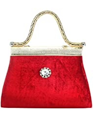 Classy Look Red Color White Stone Women Hand Held Bag