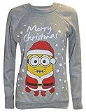 Frauen-Dame Weihnachten Neuheit Minion Print Weihnachten Sweatshirt Jumper (M/L (UK 12-14 EU 40-42 US 8-10), lichtgrau)