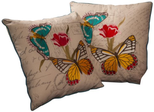 Best Selling 18-Inch Embroidered Butterfly Pillow, Set Of 2