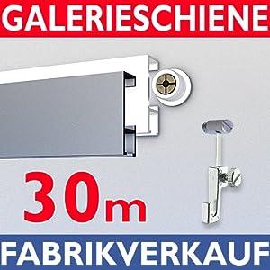 Galerieschiene 30m, Komplettset mit Zubehoer in weiss   Bewertungen