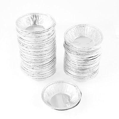 uxcell Kitchen Baking Circular Egg Tart Tins Cake Cups 240 Pcs Silver Tone