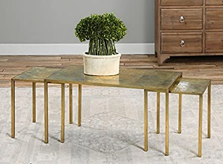 Set of 3 Copper Oxidized Nesting Coffee Table 36""