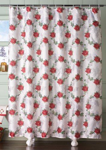 Poinsettia Holiday Bathroom Shower Curtain music score bathroom shower curtain