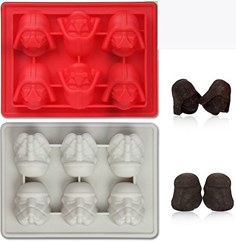 Set of 2 Star Wars Silicone Ice Trays / Chocolate Molds: Darth Vader and Stormtrooper