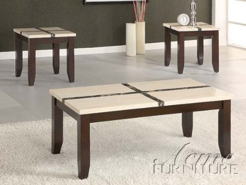 3Pc Coffee Table And End Tables Set In Ivory And Dark Brown Finish front-839778