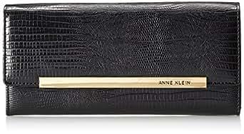 Anne Klein Leo Lizard Continental Wallet,Black,One Size