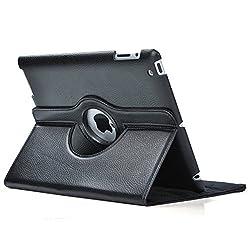 TGK 360 Degree Rotating Leather Case Cover Stand For iPad 4, iPad 3, iPad 2 - Black