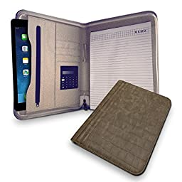 Executive Deluxe Portfolio - Professional Padfolio Holder with Zippered Closure, Without Handled Business Pad Holders, iPad Pocket Case, Letter Size Writing Pad - PU Leather - Light Brown