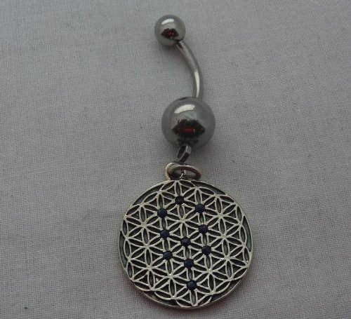 FOL Belly Ring Tree Of Life W/B Shapphires 20mm (A33)