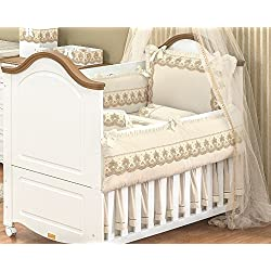 10 Pcs Lace Ivory Embroidered Nursery Crib Bedding Set