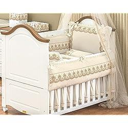10 Pcs Lace Ivory Embroidered Nursery Crib Bedding Set