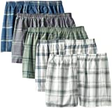 Fruit of the Loom Mens Big 5-Pack Plaid Woven Boxer - Colors May Vary, Assorted, XX-Large