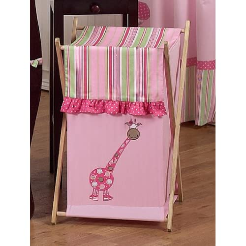 Baby and Kids Clothes Laundry Hamper for Sweet Jojo Designs for Pink and Green Jungle Friends Bedding