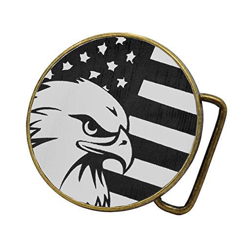 Buckle Rage Adult Unisex American Flag & Bald Eagle Circular Belt Buckle Bronze