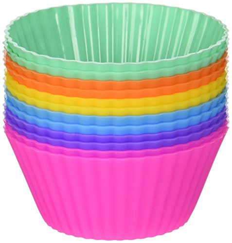 Über Baked Reusable Silicone Baking Cups - Set of 12 Nonstick Cupcake Liners in 6 Vibrant Colors