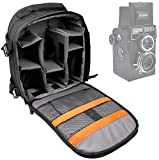DURAGADGET Premium Quality, Water-Resistant Action Camera Rucksack / Backpack with Customizable Interior & Raincover for the Lomography Lomo Lubitel 166+