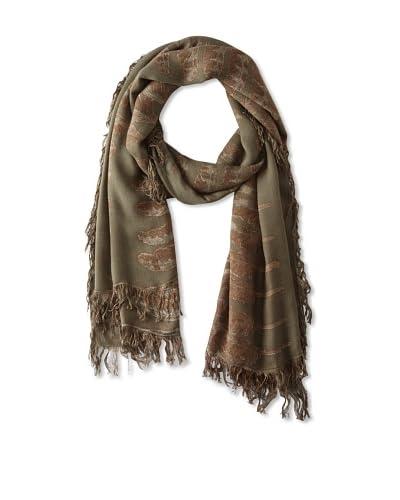 Theodora & Callum Women's Feather Gypsy Fringe Scarf, Camo Multi, One Size