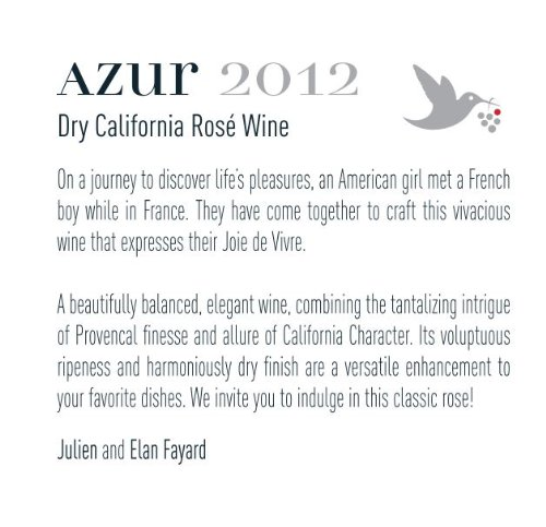 2012 Azur Dry California Rosé 750 Ml