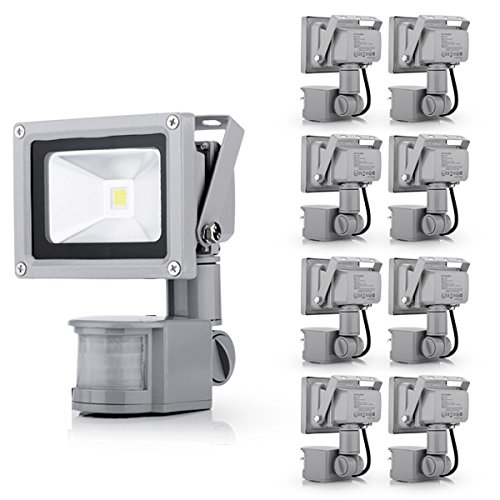 10 Watt Pir Motion Sensor High Intensity Floodlight Waterproof Outdoor Garden Landscapes Security Detector Cool White