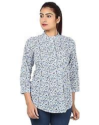 Kiosha Cotton Blue 3/4th Sleeves shirt for women