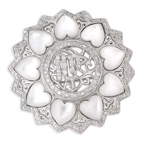 Round Mother-Of-Pearl Heart All Around With Filigree Sterling Silver Pin (Nice Holiday Gift, Special Black Firday Sale)