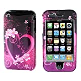 Premium - Apple iPhone 3G/3GS Purple Love Cover - Faceplate - Case - Snap On - Perfect Fit Guaranteed