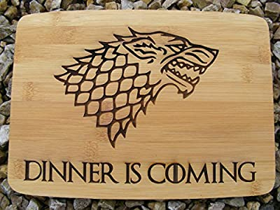 GAME OF THRONES BAMBOO WOOD CHOPPING CUTTING CHEESE BOARD PLACE MAT DINNER IS COMING WOLF WINTER LION ENGRAVED WOODEN NOVELTY WOOD KITCHEN COOKING BAKING BIRTHDAY PRESENT WOODEN WEDDING GIFT LASER ENGRAVED by FASTCRAFT UK